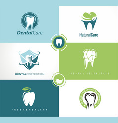 set of creative logo templates for dental clinic vector image