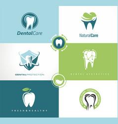 Set of creative logo templates for dental clinic vector