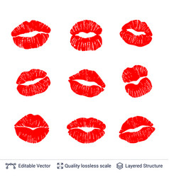 set of red lips prints isolated on white vector image