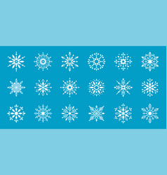 set snowflakes winter flat decorative elements vector image