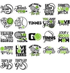 Set tennis quotes tennis player racket ball vector