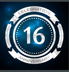 sixteen years anniversary celebration with silver vector image