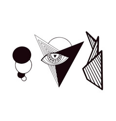 stylized minimal tattoo clip art geometrical vector image