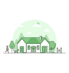 suburban house - modern thin line design style vector image