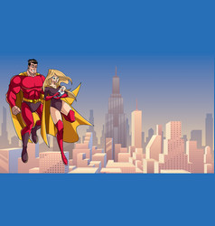 Super mom dad and baby in city vector