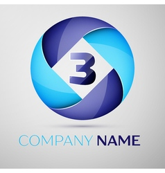 Three number colorful logo in the circle template vector