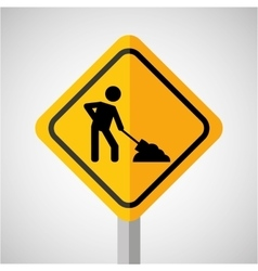 Under construction road sign worker vector