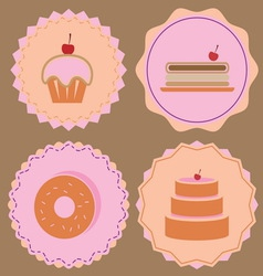 Variety of bakery icon color badges vector image