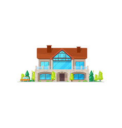 Villa or two-storied cottage house with chimney vector