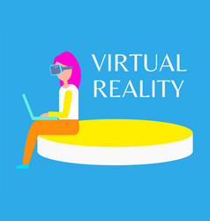 Virtual reality banner woman in headset sitting vector