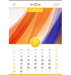 Wall calendar 2016 october template with abstract vector