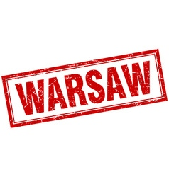 Warsaw red square grunge stamp on white vector