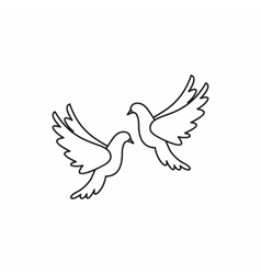 Wedding doves icon outline style vector image