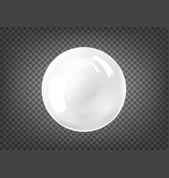 White pearl gem sphere on black background vector