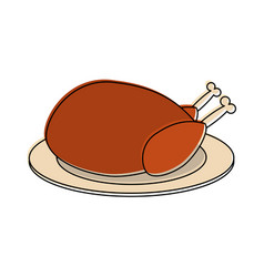 whole chicken on plate icon image vector image