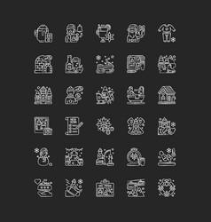 winter fun chalk white icons set on black vector image