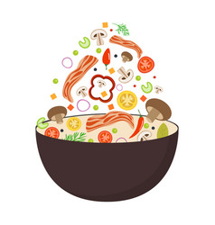 Wok pan tomato paprika pepper mushroom and vector