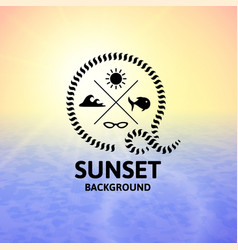 Yellow sunset with blue water sea surface vector