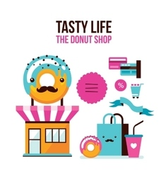 Donut Coffee online shopping infographic Flat 3d vector image vector image