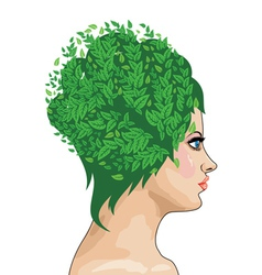 Girl with green hair vector image vector image