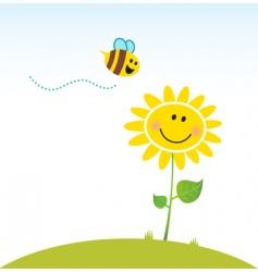 happy yellow flower with bee vector image vector image