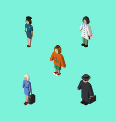 Isometric people set of hostess detective lady vector