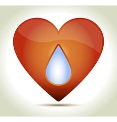 Red heart drop vector