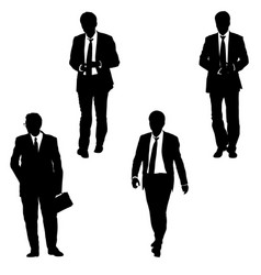 set silhouette businessman man in suit with tie on vector image