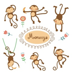 Cute funny monkeys collection vector image vector image