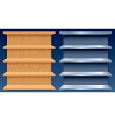 Empty Metal and Wood Shelves vector image vector image
