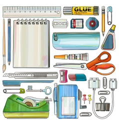 Office Supplies Watercolor style Drawing vector image vector image