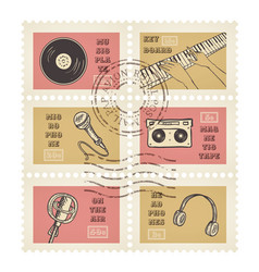 Postage stamps retro music equipment theme vector