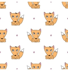 Seamless pattern of foxes vector