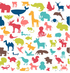seamless pattern with colored animals silhouettes vector image vector image