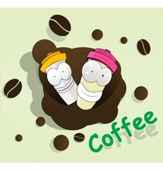 Two cute cartoon disposable coffee cups vector image