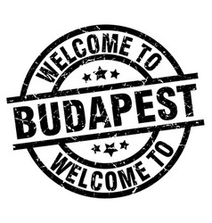 welcome to budapest black stamp vector image