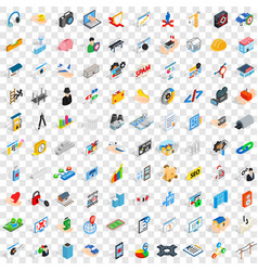 100 internet icons set isometric 3d style vector image vector image