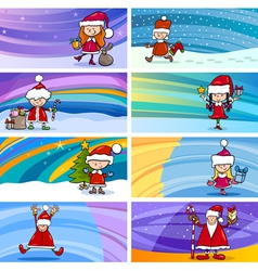 cartoon greeting cards with children vector image