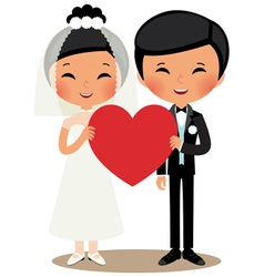 Chinese couple bride and groom vector image