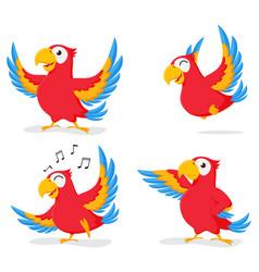 cute parrot cartoon collection set vector image vector image