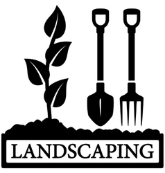 landscaping icon with sprout and gardening tools vector image vector image