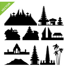 bali indonesia landmark silhouettes vector image vector image