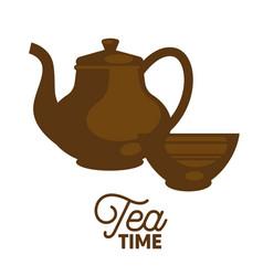 dark tea time set flat and shadow theme close-up vector image