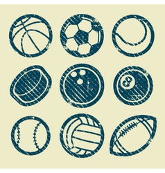 Grunge Sport Balls Stamp Icons vector image vector image