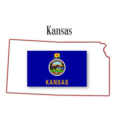 kansas state map and flag vector image