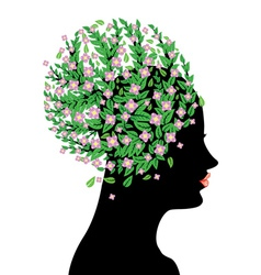 Pink blossom on head vector image