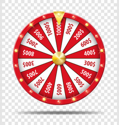 red wheel of fortune isolated on transparent vector image vector image
