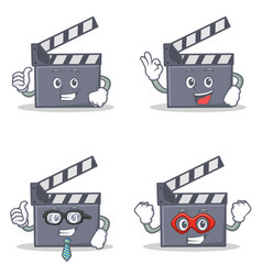 Set of movie clapper character with proud okay vector