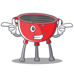 Wink barbecue grill cartoon character vector