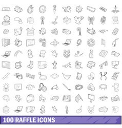 100 raffle icons set outline style vector